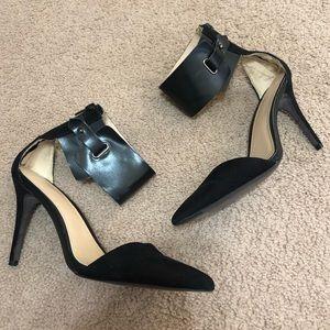 Zara Trafaluc Black Pointy Tie Ankle Strap Heels